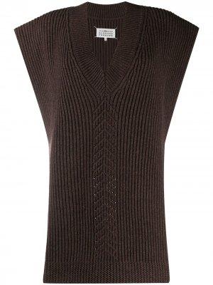 Вязаное пончо с V-образным вырезом Maison Margiela. Цвет: коричневый