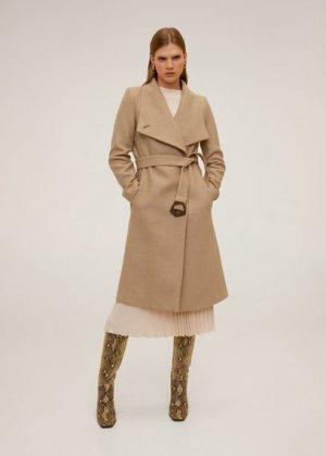 Пальто с большими лацканами, шерстью - Venus6 Mango. Цвет: коричневый средний