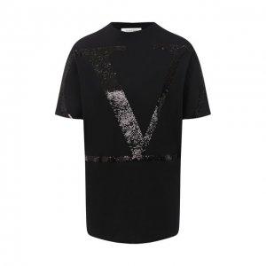 Хлопковая футболка Valentino. Цвет: чёрный
