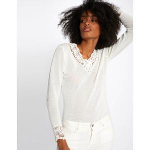 Пуловер из тонкого трикотажа с V-образным вырезом MORGAN. Цвет: белый