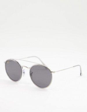 Круглые солнцезащитные очки унисекс в серебристой оправе с двойным мостом 0RB3647N-Серебристый Ray-Ban