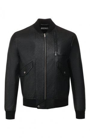 Кожаный бомбер Saint Laurent. Цвет: черный