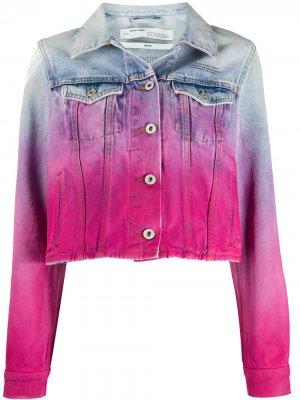 Джинсовая куртка с эффектом разбрызганной краски Off-White. Цвет: розовый