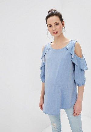 Блуза I Love Mum Марэлла. Цвет: голубой