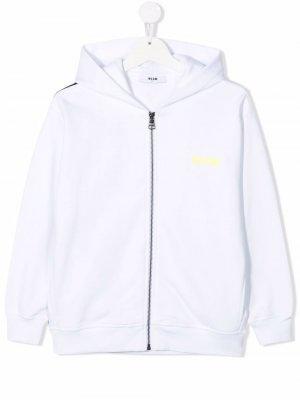 Logo-print zip-up hoodie MSGM Kids. Цвет: белый