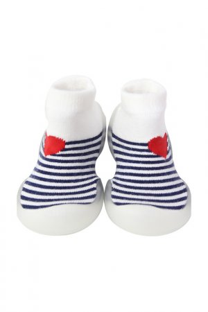 Носочки-ботиночки Heart Melody Ggomoosin. Цвет: белый, синий