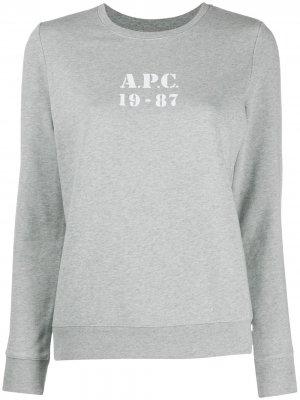 Толстовка с длинными рукавами и логотипом A.P.C.. Цвет: серый