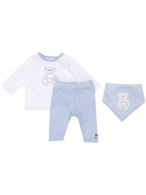 Комплект из топа, брюк и нагрудника с принтом Givenchy Kids. Цвет: синий
