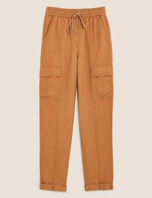 Зауженные брюки карго из льна Tencel M&S Collection. Цвет: пралине