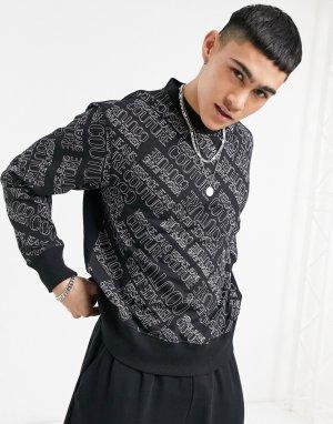 Черный свитшот со сплошным принтом логотипа от комплекта Couture-Черный цвет Versace Jeans