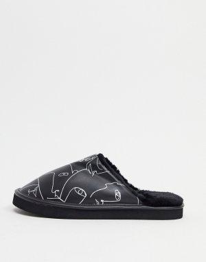 Черные слиперы-мюли с принтом -Черный цвет Monki