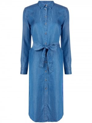 Джинсовое платье-рубашка с поясом Tommy Hilfiger. Цвет: синий