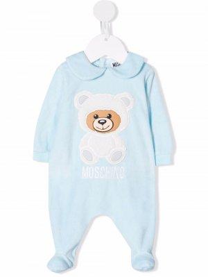 Peter Pan-collar teddy-detail pyjamas Moschino Kids. Цвет: синий
