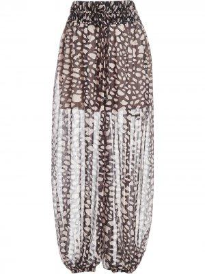 Пляжные брюки свободного кроя с принтом PatBO. Цвет: черный