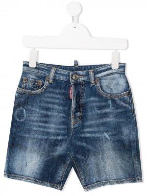 Джинсовые шорты с эффектом потертости Dsquared2 Kids. Цвет: синий