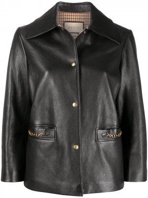 Куртка с пряжками Horsebit Gucci. Цвет: черный