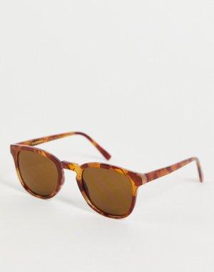 Солнцезащитные очки унисекс в квадратной светло-коричневой черепаховой оправе Bate-Коричневый цвет A.Kjaerbede