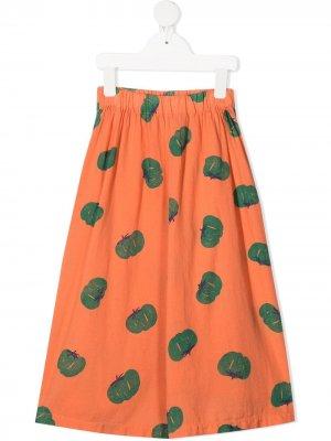 Широкие брюки с графичным принтом Bobo Choses. Цвет: оранжевый