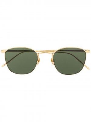 Солнцезащитные очки Simon в круглой оправе Linda Farrow. Цвет: золотистый