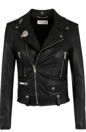 Укороченная кожаная куртка с косой молнией Saint Laurent. Цвет: черный