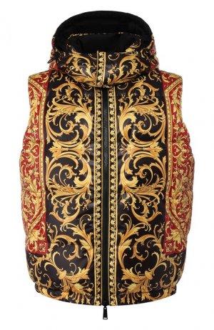 Двусторонний пуховый жилет Versace. Цвет: разноцветный