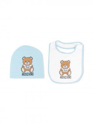 Комплект Teddy Bear из шапки бини и нагрудника Moschino Kids. Цвет: синий