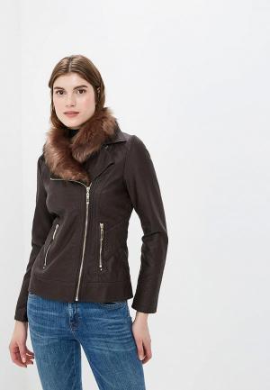 Куртка кожаная Wallis. Цвет: коричневый