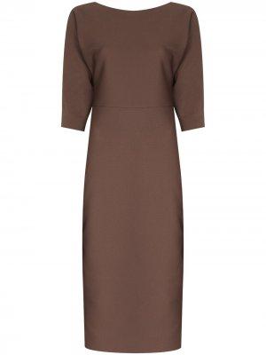 Платье миди с V-образным вырезом на спине Fendi. Цвет: коричневый