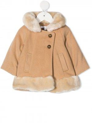 Трикотажное пальто с искусственным мехом Chloé Kids. Цвет: нейтральные цвета
