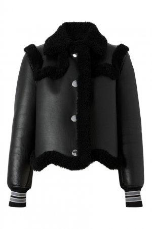 Черная дубленка из овчины Burberry. Цвет: черный