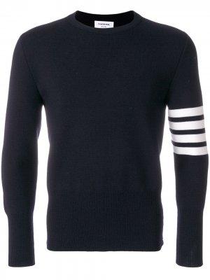 Пуловер с контрастными полосками Thom Browne. Цвет: синий