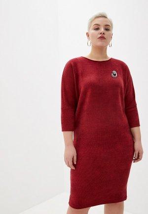 Платье Louitex с брошью. Цвет: бордовый