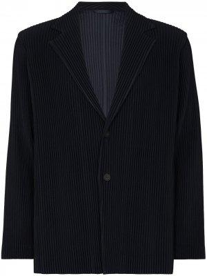 Плиссированный пиджак Homme Plissé Issey Miyake. Цвет: синий