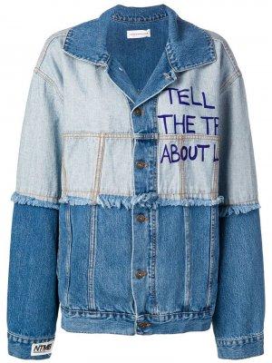 Джинсовая куртка в двух тонах Faith Connexion. Цвет: синий