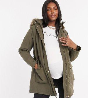 Длинная парка цвета хаки -Черный New Look Maternity