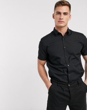 Черная рубашка из поплина с короткими рукавами New look-Черный цвет Look