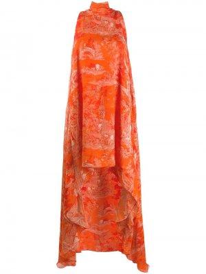 Платье с асимметричным подолом Antonio Berardi. Цвет: оранжевый