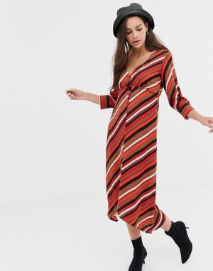Платье в полоску с пуговицами Bershka. Цвет: мульти