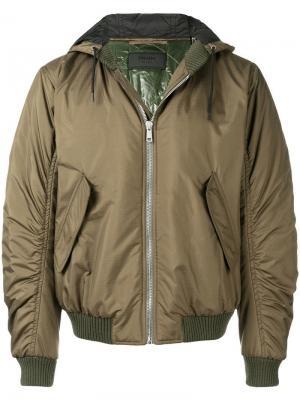Куртка-бомбер с капюшоном Prada. Цвет: зеленый