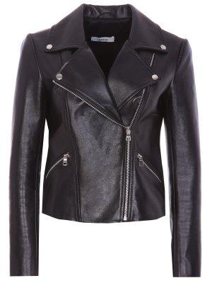 Куртка-косуха кожаная DIMANEU. Цвет: черный