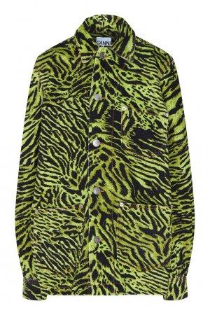 Джинсовая куртка неоново-зеленого цвета Ganni. Цвет: зеленый