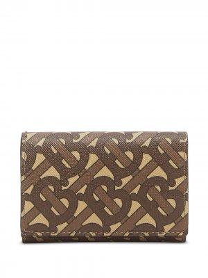 Маленький бумажник с монограммой Burberry. Цвет: коричневый
