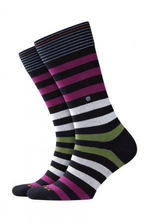 Хлопковые носки Blackpool в полоску Burlington. Цвет: черный
