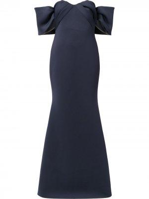 Off-shoulder scuba gown Badgley Mischka. Цвет: синий