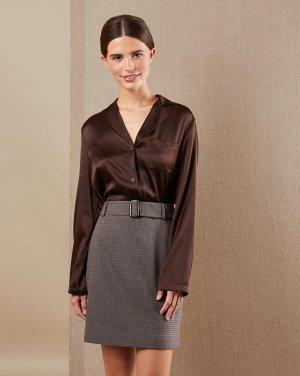 Шелковая блуза 12STOREEZ. Цвет: тёмно-коричневый