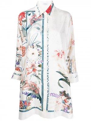 Рубашка-туника с цветочным принтом Salvatore Ferragamo. Цвет: белый