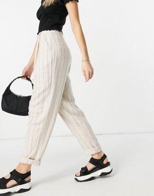 Светло-бежевые льняные брюки-галифе в полоску -Нейтральный ASOS DESIGN
