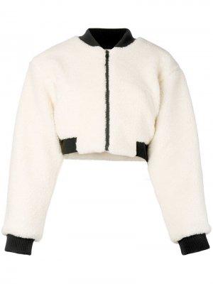 Укороченная куртка-бомбер Fiorucci. Цвет: белый