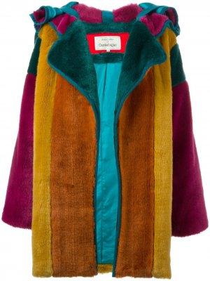 Меховое пальто в стиле колор-блок JC de Castelbajac Pre-Owned. Цвет: зеленый