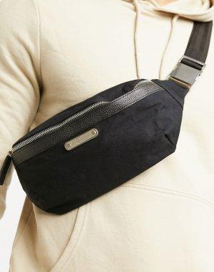 Сумка-кошелек на пояс из плотной ткани с кожаной отделкой -Черный Bolongaro Trevor